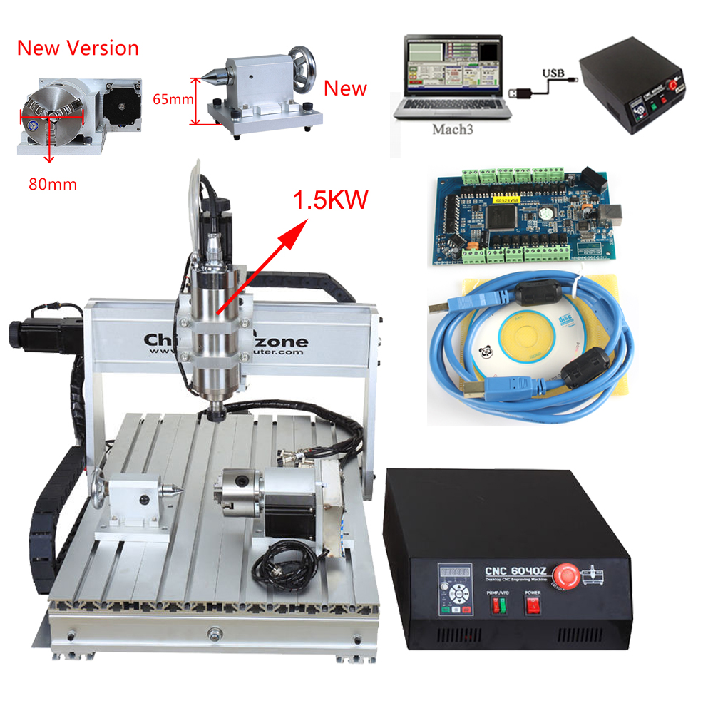 Mach3 USB CNC 6040 4axis 1.5KW CNC Router Engraver CNC Cutting Milling Drilling Engraving Machine With Cooling System For Wood 3040zq usb 3axis cnc router machine with mach3 remote control engraving drilling and milling machine free tax to russia