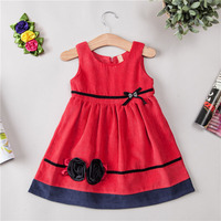 Casual Soft Toddler Dresses For Girls Flowers Baby Kids Corduroy Peluche Material With Belt Children Princess