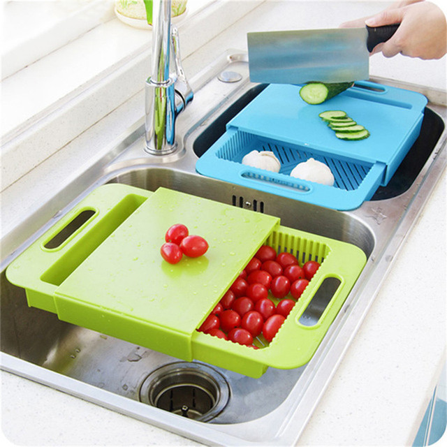 Multi Function Kitchen Chopping Block Sinks Drain Basket Cutting Board Meat  Vegetable Fruit Antibacterial Non