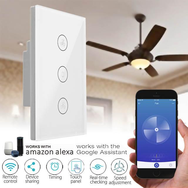 Tuya EU/UK/US WiFi Smart Ceiling Fan Switch APP Remote Timer and ...