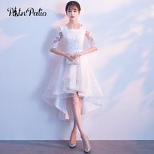 Белое платье с высоким низом 2018 элегантное платье с круглым вырезом и коротким передом, длинное кружевное платье для выпускного вечера с короткими рукавами, платья для особых случаев