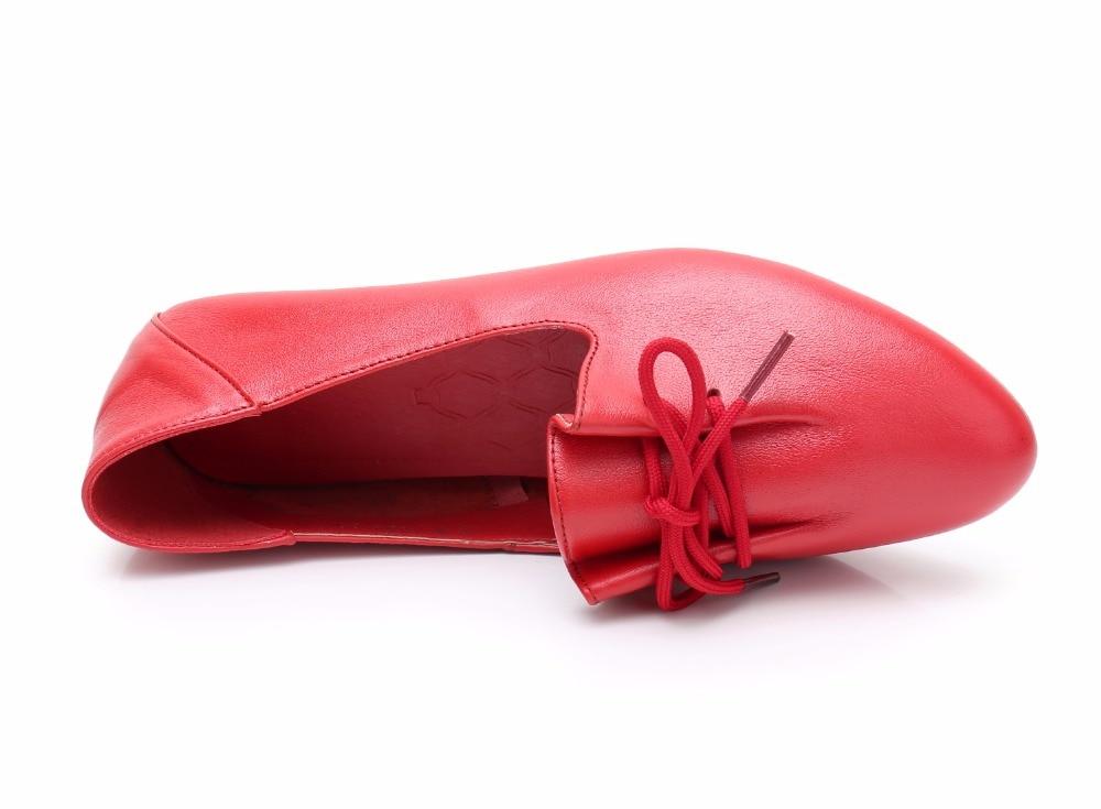 Souple Confortable Noir Simples Cuir vert Véritable Orteil Appartements Femmes blanc En Laçage kaki Chaussures Pointu Printemps Femme Plat rouge Gktinoo 0nmw8N