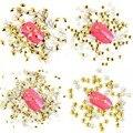 1000 PÇS/LOTE Novo Metal 3D Decorações Da Arte Do Prego de Prata de Ouro Rebite Prego Encantos Estrela Triângulo Forma Manicure Acessórios WY333-WY344