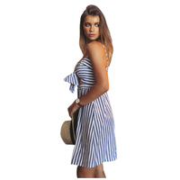 New Women Summer Strapless Off Shoulder Sexy Dress Strap Sleeveless Blue Striped Party Dresses BLUE L