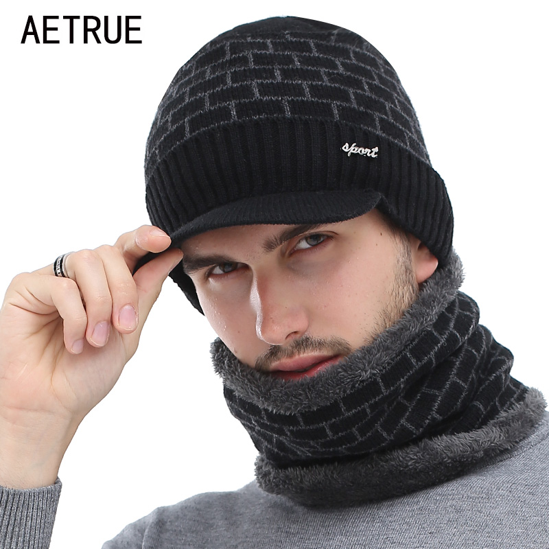 AETRUE Winter Hat Skullies Beanies Men Women Knitted Hat Scarf Winter Caps Mask Balaclava Bonnet Cap Wool Fur Beanies Hats 2019