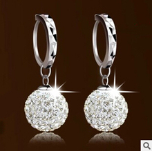 Lose money promotion super shiny cubic zirconia Shambhala ball 925 sterling silver ladies`clip earrings jewelry gift