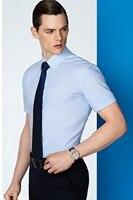 New design new arriving 100% cotton blue stripe with short sleeve slim fit mens custom shirt