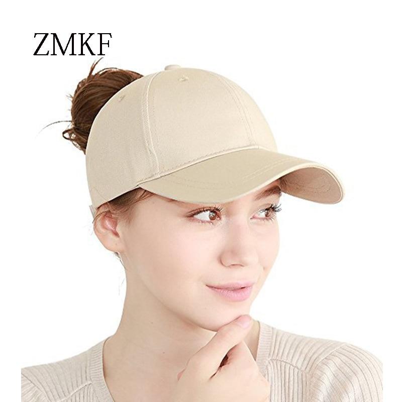 2018 ZMKF nieuwe vrouwen effen kleur paardenstaart baseball cap zomer - Kledingaccessoires - Foto 2