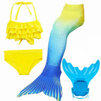 4pcs Set Girls Swimming Mermaid Tails With Flipper Children Ariel Bathing Suit Swimmable Mermaid Tail Costume
