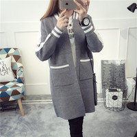 NEW Hot Sale Women S Spring Autumn Winter Long Section Casual Knit Cardigans Coat Woman College