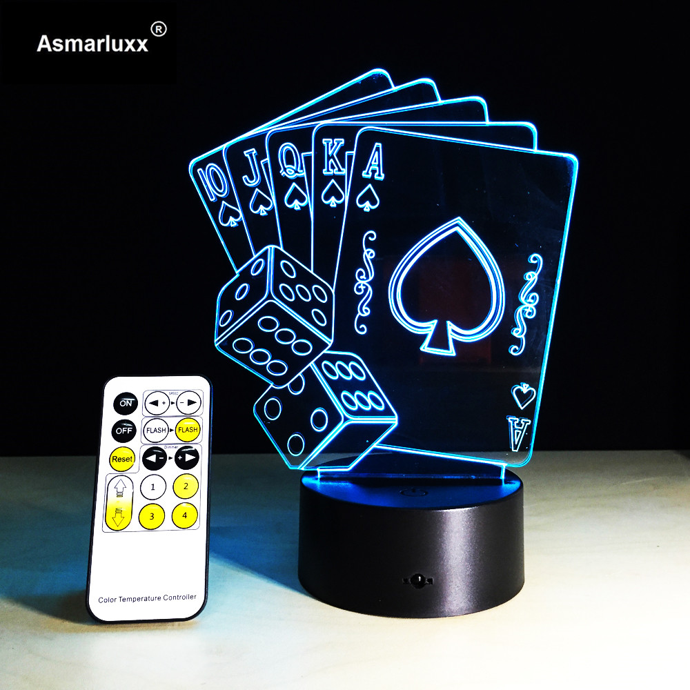 Remote 3D Illusion Poker Cards Or Touch Control LED Desk Table Night Light 7 Color Touch Lamp For Kid Family Friend Holiday Gift
