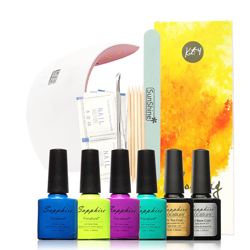 Focallure 4colors uv gel polish+base top coat nail art nail tools sets kits +SUNUV 9X plus36w timer uv lamp manicure жидкость domix green professional nail gel polish remuver