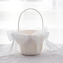 Wedding Flower Girl Basket Chic Satin Bowknot Rose Girls Party Supplies