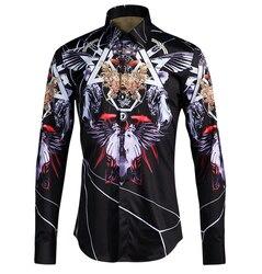 Gothic mannen Shirt Trend Jeugd Shirt Heren Shirts Casual Slim Fit Ropa Hombre 2018 Streetwear Mannen Shirt Lange mouw