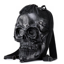 Skull Face Backpack Rock Style Punk Rivet Backpack 3D Relief Evil Spirit Halloween Tassel Scary Computer Package Summer Bag 2019(China)