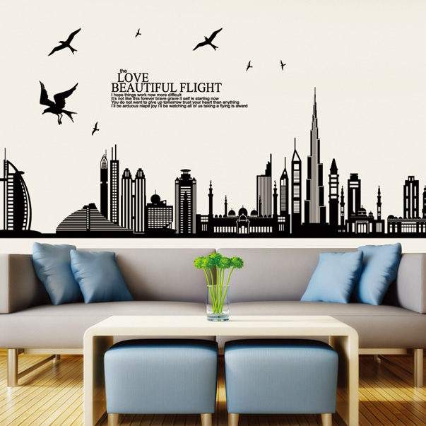 Jm7280 free shipping removable vinyl wall sticker new arrival dubai city landscape wall decals home decor