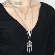 2016 New Bohemian Dreamcatcher Feather Wings Pendant Crystal stone Silver moon Multilayer Long Necklace Collares Mujer XY-N123