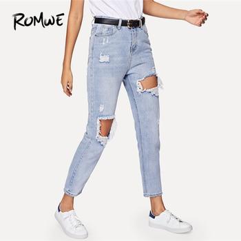 8f802854b9f ROMWE Джинсы женские с вырезами рваные джинсы для женщин синие джинсовые  штаны осенняя одежда обычные брюки молния середины талии женские джи.
