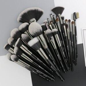 Image 2 - Beili preto 35 peças profissional natural maquiagem escovas conjunto de mistura sobrancelha corretivo delineador fundação pó escova maquiagem