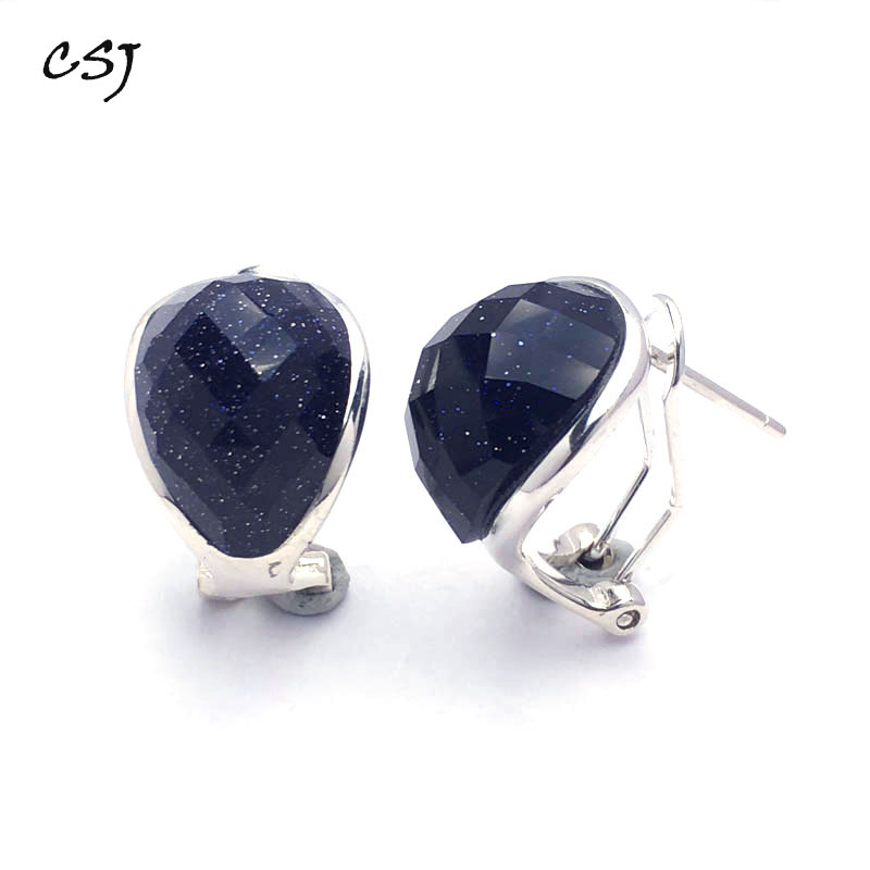CSJ Classic Blue Gold Sand good fashion Earrings Sterling 925 Silver High Quality Fine Jewelry Women Femme Wedding Party Gift