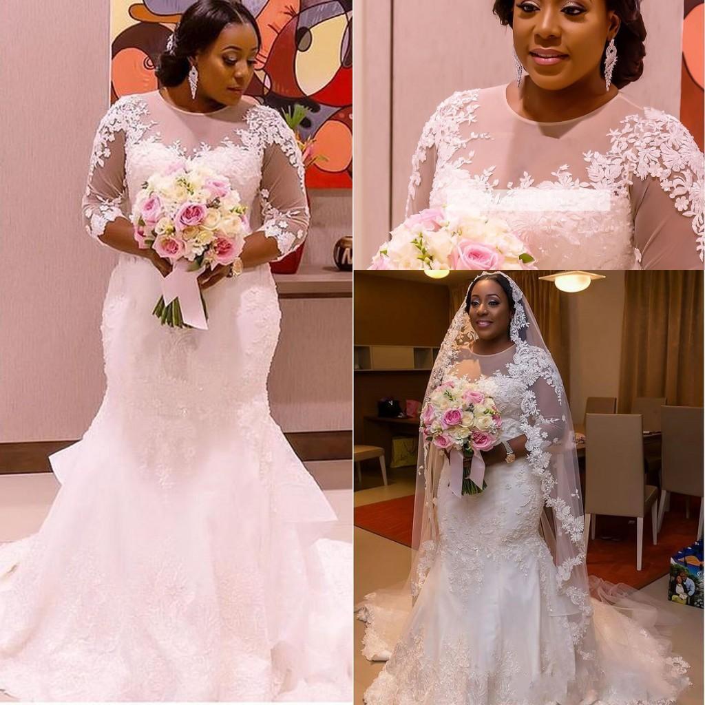 White Mermaid Wedding Dresses 18 Customize Short Sleeves Vintage Bride  Dresses Plus Size buy Wedding Dress