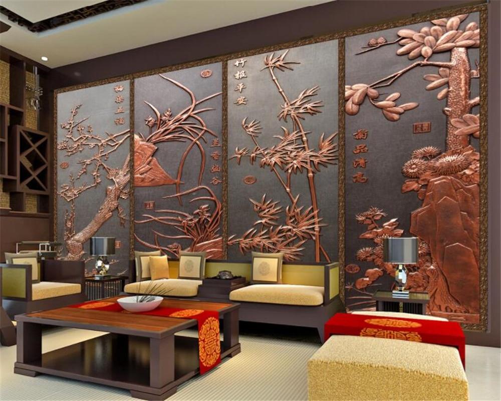 US $8.7 42% OFF Beibehang wand papers home decor Meilan bambus chrysantheme  geprägt wohnzimmer TV wand tapete für wände 3 d papel wandbild-in Tapeten  ...