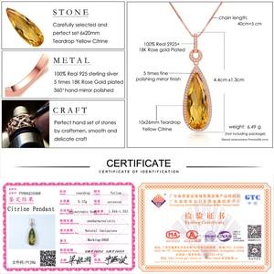 Image 5 - Lamoon luxo natural lágrima citrino 925 prata esterlina corrente pingente colar feminino jóias s925 lmni042