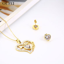 OUFEI Stainless Steel Jewelry Woman Vogue 2019 Bohemian Heart Necklace Earrings Set Bridal Jewelry Sets Jewelry Accessories cheap Fashion Necklace Earrings Classic Women Metal Party XH0681-ST-G stainless steel jewelry set collares bijoux sieraden joias