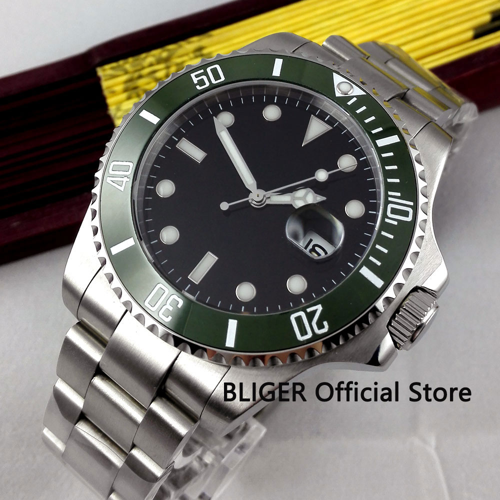 Sapphire Crystal 40MM Black Sterile Dial Green Ceramic Bezel Luminous Marks Date Magnifier Automatic Movement Men