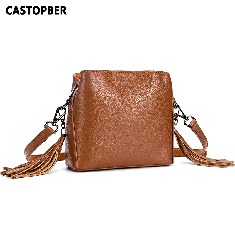 Fashion Tassel Crossbody Bags For Women Cowhide Genuine Leather Spring New Designer Ladies Messenger Shoulder Bag Female Brand retro tiny bell tassel anklet for women