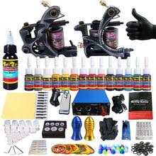 цена на Solong Tattoo Complete Tattoo Kits 2 Machine Gun Beginner Tattoo Set 14 Inks Needle Grips Foot Petal Power Supply TK203-2