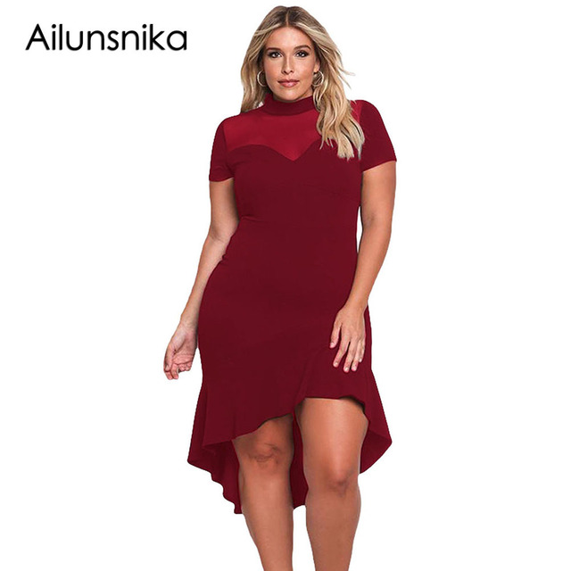 Ailunsnika Office Plus Size Dress Short Sleeve Mesh Insert Ruffled ...