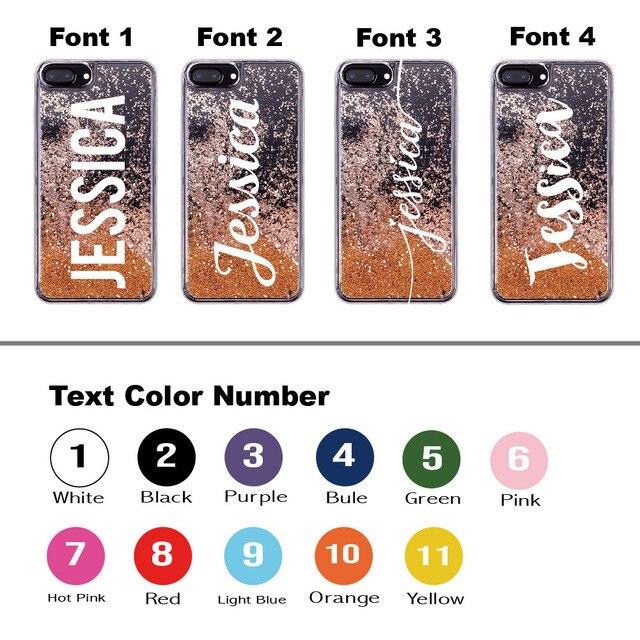 Paillettes liquides étincelle or Rose nom lettres pour iPhone 11 Pro 6S XS Max 7 7plus 8 8plus X coque de téléphone souple personnalisé