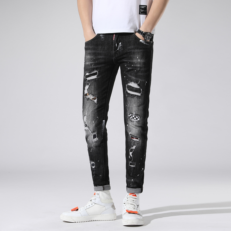 New Torn Ripped Jeans For Men Printed Skinny Black Jeans Men Elastic Stretch Slim Pants Clothes Hip Hop Streetwear Spring Summer