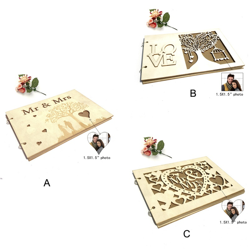 Romantic Wooden Photo Frame Wedding Signature Book 20 Pages With 2pcs Key Ring Portable