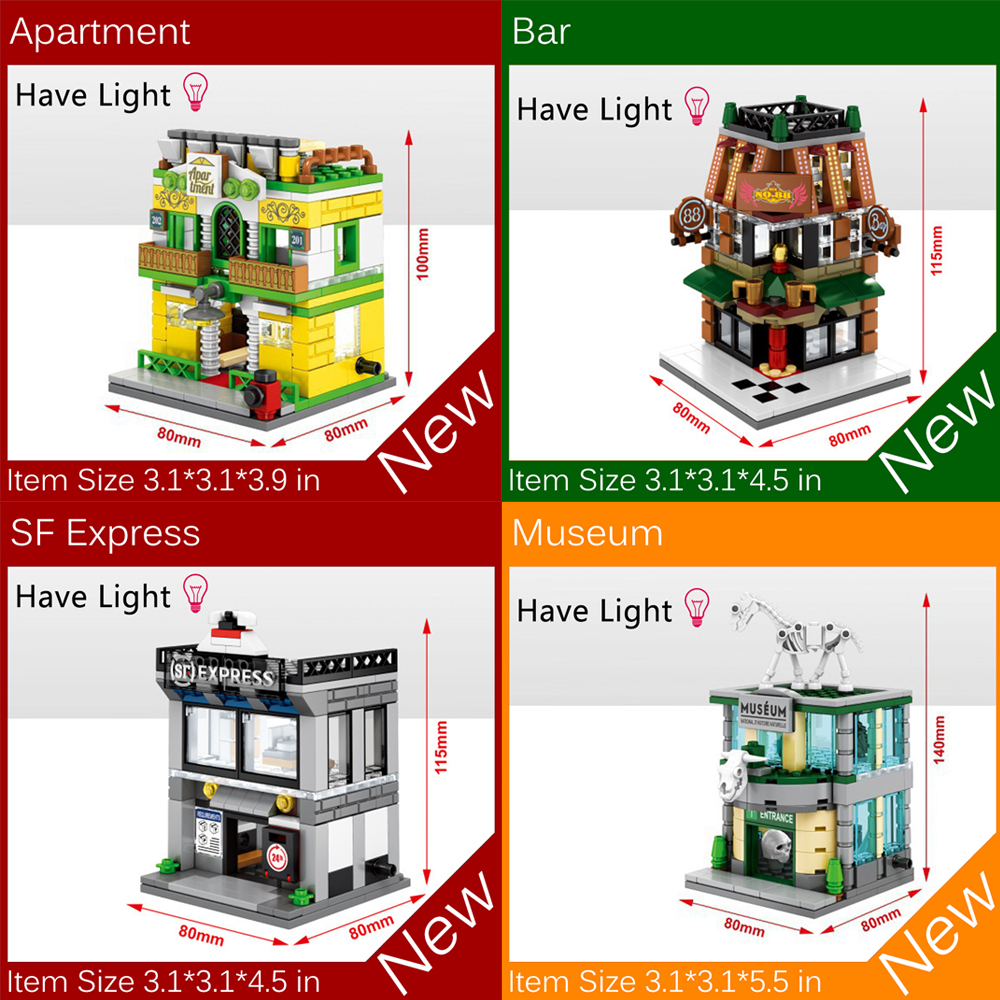 4pcs/set Mini Street View Building Blocks Bricks Toys MOC Museum Bar Apartment Express Delivery Shop With Light Toys Kids Gifts