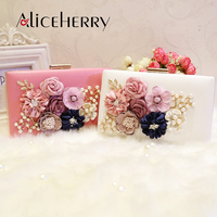 Luxury Flowers Shoulder Bag Ladies Box Clutch Bag Purse Chain Women Handbag Messenger Pearl Bag for Girls Gift