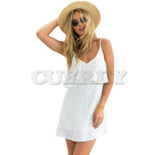 CUERLY 2019 New Off shouCUERLYer ruffle Dot summer dress women White strap chiffon beach Boho party sexy dresses