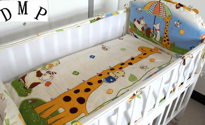 Promotion! 5PCS mesh Nursery Bedding Baby Cot bedding set for newborn Bed Sheet ,include:(4bumper+sheet)
