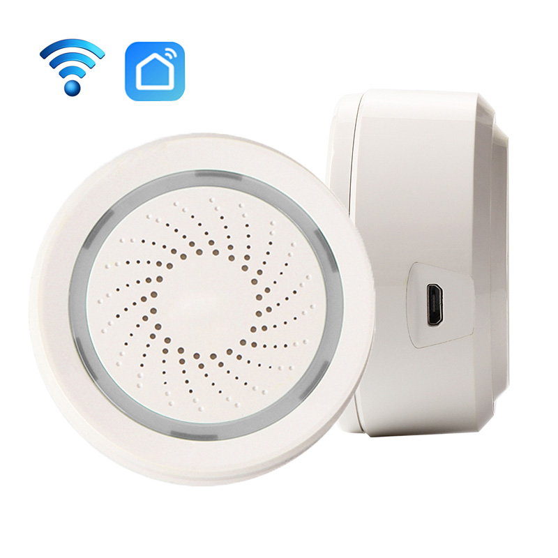 Smart Wireless WiFi Siren Alarm Sensor USB Power Via iOS Android APP Notification Plug And Play No HUB Requirement image