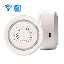 Умная беспроводная Wi Fi сирена с датчиком сигнализации, питание от USB через приложение iOS Android, уведомления «подключи и работай», без требований концентратора