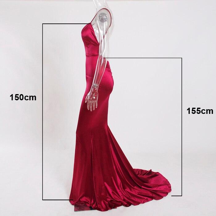 Deep V-Neck Burgundy Satin Mermaid Open Back Long Evening Dress 3