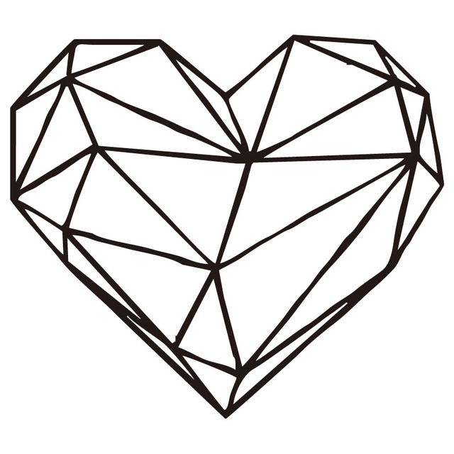 Line Art Heart Shape : Geometric heart wall decal art design removable love
