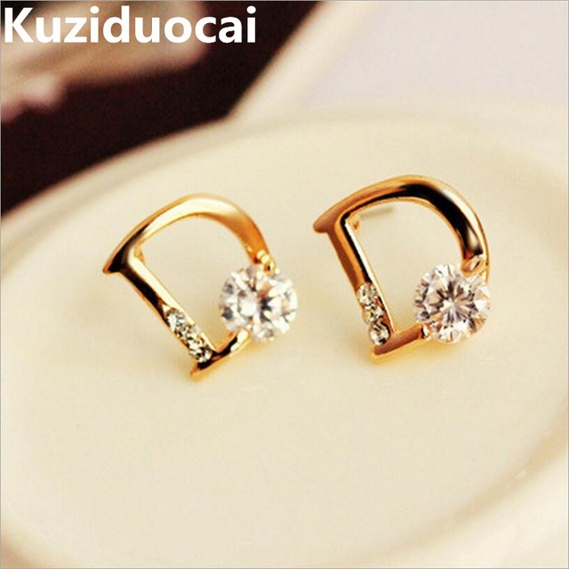 Sparkling Gold Color Zircon Letter D Individuality Stud Earrings