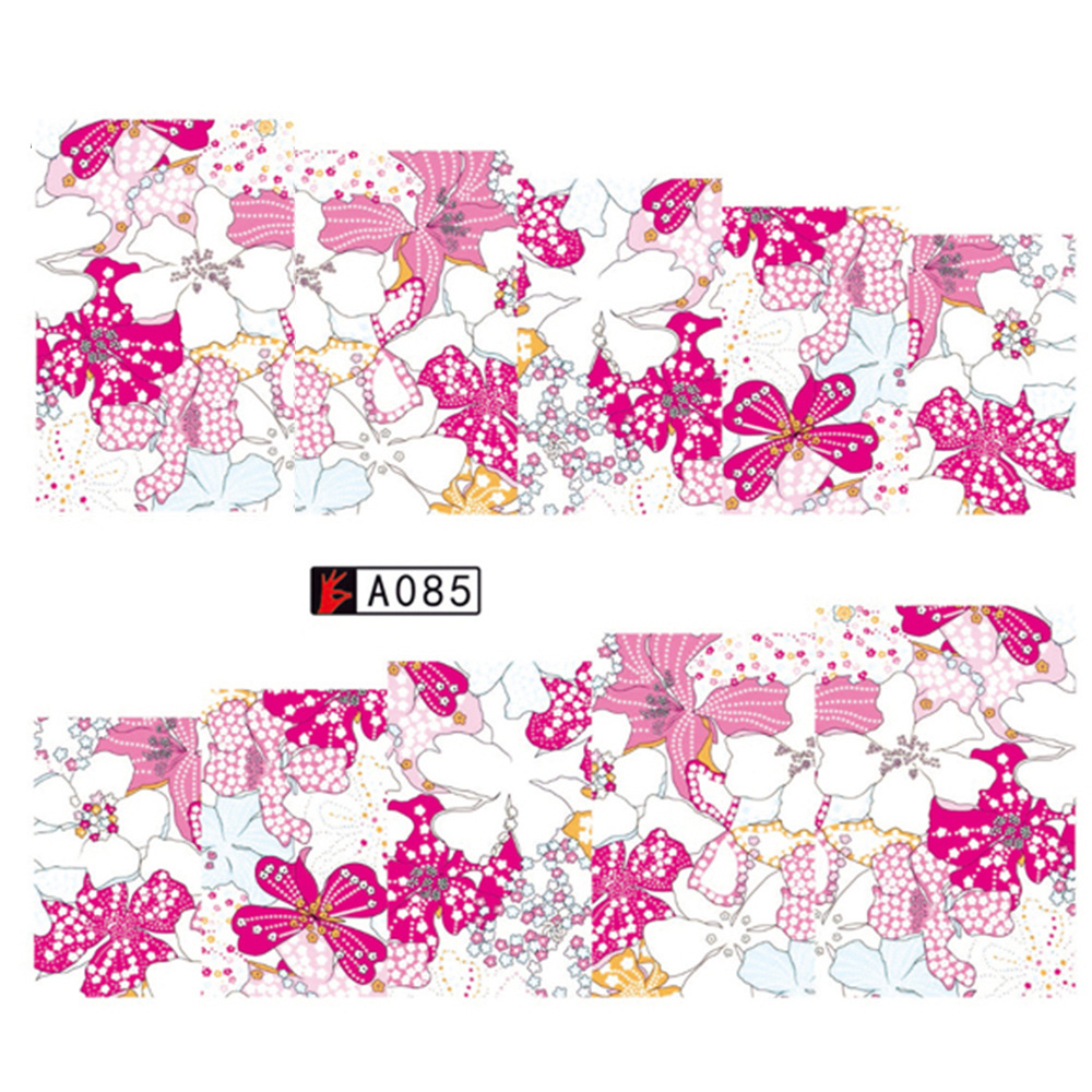 1 Sheet Flower Pattern Full Cover  Nail Stickers  Decal Water Transfer Stickers Nail Decals Nail Art Free Shipping