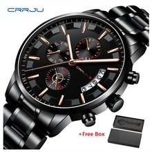 2019 New CRRJU Top Brand Luxury Watches Men Business Casual Stainless Steel Chronograph Quartz Watch Automatic Date Wristwatches