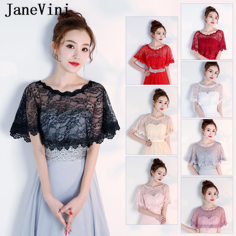 JaneVini Elegant Black Summer Lace Bridal Wedding Bolero Wraps Women Cheap Short Cape Shawls Stole Outwear Wedding Accessories