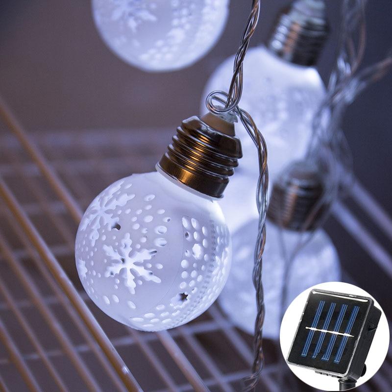20Led Fata Bianco Fiocco di Neve Cava Lampadina Solare Luci Della Stringa 5 m LED Decorazione Per La Ghirlanda Di Natale Nuovo Anno gerlyanda 2018