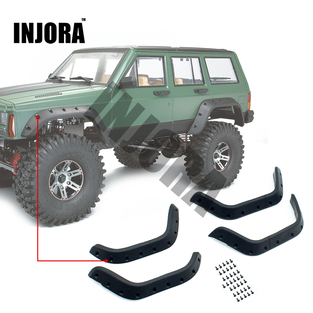 INJORA 1:10 RC Crawler Black Rubber Fender Flares for Axial SCX10 II 90046 90047 Body Car Shell injora rc car 1 10 scale black rubber snorkel for axial scx10 ii 90046 90047 body shell parts