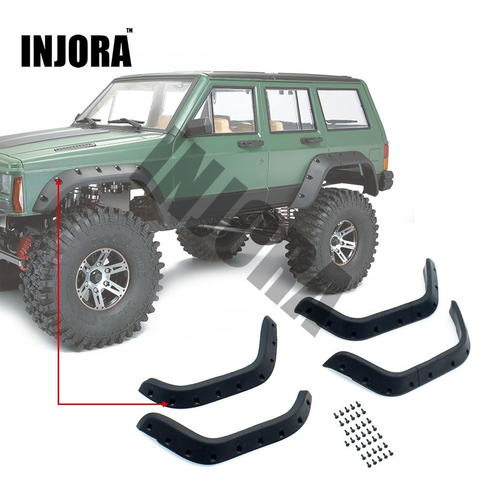 INJORA 1:10 RC Crawler Black Rubber Fender Flares For Axial SCX10 II 90046 90047 Body Car Shell